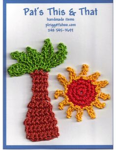 Crocheted Palm Tree & Sun .. ideal for scrapbook layout or on a card.