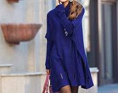 Loose large lapel Bottom hollow Sweater Coat