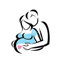Young family are awaiting for childbirth symbol vector by baldyrgan on VectorStock®