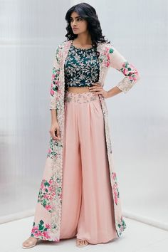 Buy Silk Printed Jacket Palazzo Set by Mrunalini Rao at Aza Fashions Lehenga Designs, Kurta Designs, Kurti Designs Party Wear, Indian Fashion Dresses, Indian Gowns Dresses, Dress Indian Style, Indian Designer Outfits, Indian Style Clothes, Indian Long Dress