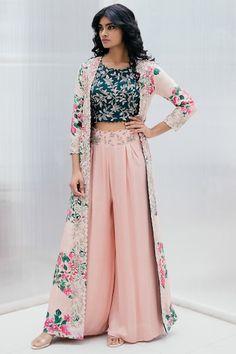 Buy Silk Printed Jacket Palazzo Set by Mrunalini Rao at Aza Fashions Indian Fashion Dresses, Party Wear Indian Dresses, Designer Party Wear Dresses, Indian Gowns Dresses, Dress Indian Style, Indian Designer Outfits, Indian Wedding Outfits, Indian Outfits, Indian Long Dress