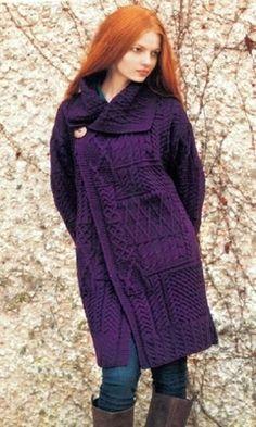 Paars vest van merinowol - Purple merino wool cardigan #winter