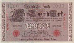 1910 Imperial German 1000 Mark - Red Seal