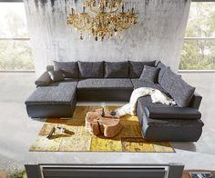 Wohnlandschaft Cariba 322x250 Schwarz Grau Schlaffunktion Möbel Sofas…