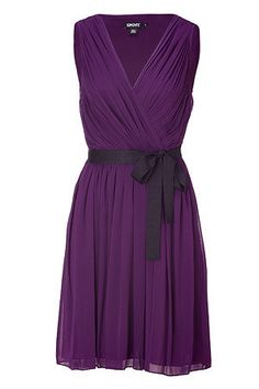 Blueberry Pleated Silk Dress by DKNY