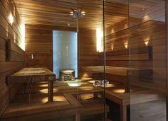 Glass wall in a sauna is on my wish list! from Helo – Finland Portable Steam Sauna, Sauna Steam Room, Sauna Room, Saunas, Boat Interior, Decor Interior Design, Sauna Lights, Sauna A Vapor, Sauna Design