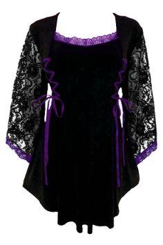 Dare to Wear Victorian, Gothic inspired plus size Anstasia corset top in Black & Purple