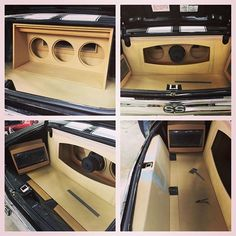 chevelle car audio custom trunk install. interior subs kick panels amps on the side. walled off