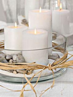 Perfect Centerpiece Via 15 Easy DIY Fall Centerpieces Some of the best candle arrangements incorporate nature. Make It Tall Via Beautiful flower arrangment Pillar Candle Holders, Candle Lanterns, Pillar Candles, Candels, White Candles, Candleholders, Diy Candles, Teal Candles, Sand Candles