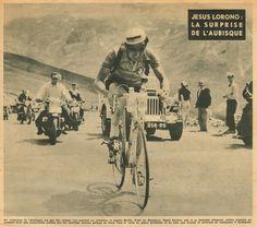 Tour de France 1953. 10^Tappa, 13 luglio. Pau > Cauterets. Col d'Aubisque. Jesus Loroño (1926-1998) [Le Miroir des Sports]