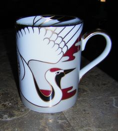 Fitz & Floyd TANCHO STORK Mug - Pearlized Finish - pinned by pin4etsy.com
