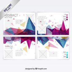 カラフルな多角形のパンフレット 無料ベクター