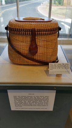 Nantucket inspired fishing creel by Helen Lee on exhibit at Nantucket Lightship Basket Museum.