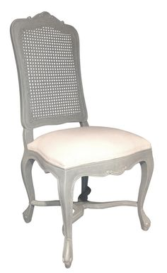 Gray Cane Back Dining Chair
