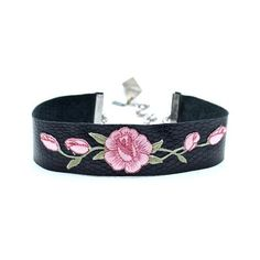 Wild Rose Leather Choker (€83) ❤ liked on Polyvore featuring jewelry, necklaces, long red necklace, leather choker, red necklace, leather pendant necklace and leather necklace