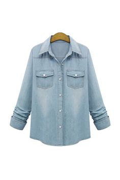 Denim Chambray Buttoned Down Women Shirt