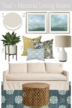 Mood Board // Teal + Neutral Living Room (K Sarah Designs) Coastal Living Rooms, New Living Room, Home And Living, Living Room Decor, Interior Exterior, Interior Design, Family Room Design, Living Room Designs, Decoration