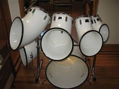 "North drum set. The saxophone shaped shells ""threw"" the sound into the audience. My first kit was ALMOST a North kit. I have no need for one; I still want one."