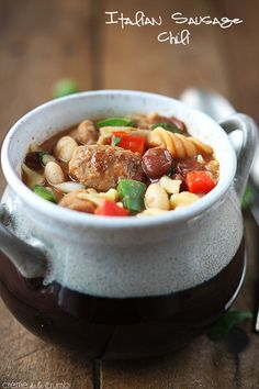 One Pot Italian Sausage Chili - make this with nitrate-free chicken or turkey Italian sausage and phase-appropriate pasta to serve 8. For Phase 1, serve with an extra grain (a slice of toast or a few crackers).