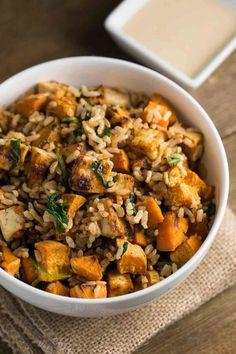 food Tofu Sweet Potato Bowl with Tahini Sauce Healthy Lunch Ideas Bowl Food Potato Sauce Sweet Tahini Tofu Veggie Recipes, Whole Food Recipes, Dinner Recipes, Cooking Recipes, Healthy Recipes, Chicken Recipes, Recipes With Tofu Healthy, Recipes With Tahini Sauce, Firm Tofu Recipes