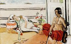 Henri Matisse, Odalisque sur La Terrasse (by Jacques Villon) (1922).Henri Matisse Odalisque sur La Terrasse (by Jacques Villon), 1922