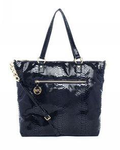 Michael Kors Handbags Sale Fulton Large Tote Black-Embossed Leather