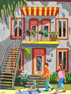 Family walk - Louise Marion, artiste peintre, paysage urbain, Quebec, couleurs