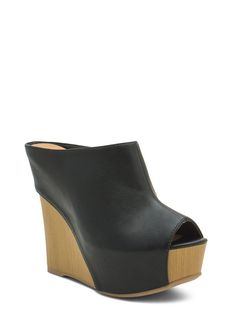 No Intro Faux Leather Mule Wedges BLACK