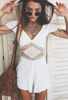 #summer #fashion / white crochet playsuit