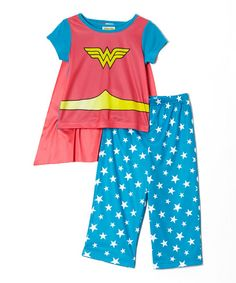 Blue & Red Wonder Girl Pajama Set - Infant & Toddler