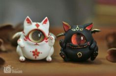 No sense — meanae: blackmasquerade: meanae: migascar: . Polymer Clay Projects, Cute Polymer Clay, Ooak Dolls, Art Dolls, Rayquaza Pokemon, Arte 8 Bits, Arte Peculiar, Cute Monsters, Creepy Cute