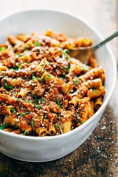 Spicy Sausage Rigatoni - my whole family LOVES this recipe! Real food ingredients like whole wheat rigatoni, San Marzano tomatoes, and red wine. #dinner #pasta #recipe #yummy #pastarecipe | pinchofyum.com