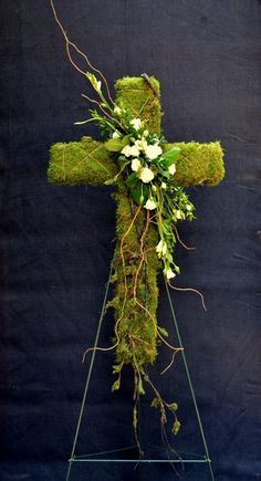 Moss Cross with floral accent, Easter, funeral Grave Flowers, Cemetery Flowers, Church Flowers, Funeral Flowers, Funeral Floral Arrangements, Church Flower Arrangements, Funeral Sprays, Cemetery Decorations, Cross Wreath