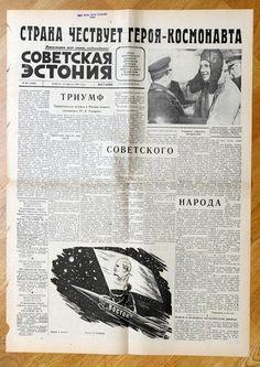 Soviet Newspaper SOVETSKAJA ESTONIJA 1961 , April 15  - USSR RUSSIA - YURI GAGARIN FIRST HUMAN SPACE FLIGHT