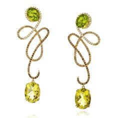 Peridot & Citrine drop #earrings by Sarah Ho, SHO London