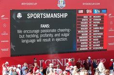 A video board shows a message to fans about sportsmanship.