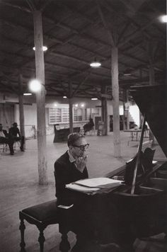 Arranger and Composer Gil Evans at the Monterey Jazz Festival in 1966; Evans was warming up in a large rehearsal hall backstage.