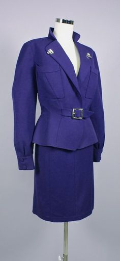 WOW!!! Vintage Thierry Mugler skirt suit in purple wool.