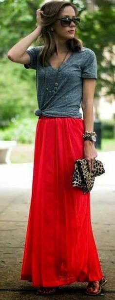 Red Plain Draped Casual Loose Long Chiffon Skirt with plain tee. $8.99