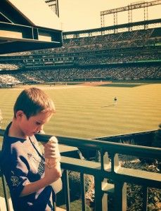Enjoying an ice cream cone at the #coloradorockies game