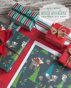 My Owl Barn: Printable Christmas Gift Wraps + Tags + Petal Cards,... I love woodland!