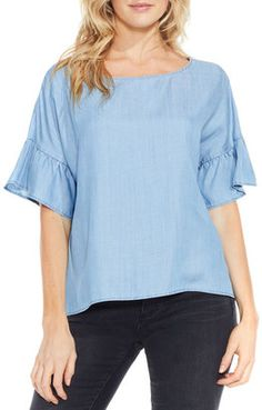 Two by Vince Camuto Ruffle Sleeve Chambray Top - $29.97