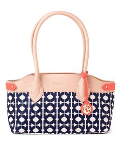 Love this Coral & Navy Hilton Head Leather-Accent Shoulder Bag on #zulily! #zulilyfinds