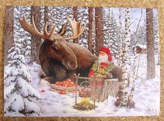 BERGERLIND GNOME and MOOSE in the WINTER FOREST New Tomte Elf Card Sweden