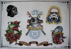 Sooooo want a Traditional Star Wars tattoo Tattoos Skull, Star Tattoos, Sleeve Tattoos, Cool Tattoos, Pretty Tattoos, Tatoos, Traditional Tattoo Arm, Lightsaber Tattoo, Alchemy Tattoo