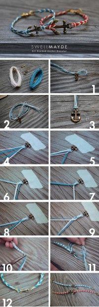 Diy braided anchor bracelet bracelet diy diy crafts do it yourself diy art diy tips diy ideas diy braided anchor bracelet braided diy jewelry easy diy (diy fashion do it yourself) Armband Tutorial, Armband Diy, Bracelet Tutorial, Cute Crafts, Crafts To Sell, Teen Crafts, Easy Crafts, Diy Tresses, Diy Braids