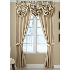 Croscill Ivory Daphne Window Drapery Panels ($120) ❤ liked on Polyvore featuring home, home decor, window treatments, curtains, ivory, floral swags, patterned curtains, floral window panels, floral valance and window curtain panels