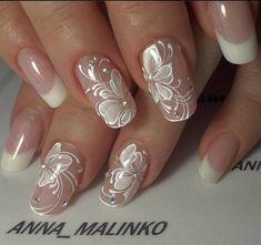 Wedding Nails Art Unghie Sposa Ideas For 2019 Nail Art Designs 2016, Flower Nail Designs, Nail Designs Spring, Cute Nail Designs, Fancy Nails, Cute Nails, Pretty Nails, Shiney Nails, Bridal Nail Art