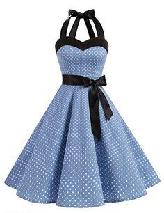Dresstells Neckholder Rockabilly 50er Polka Dots Punkte 1950er Kleid  Petticoat Faltenrock Blue Small White Dot S 219785a890