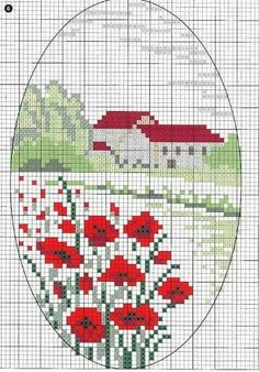 Pattern embroidery landscape with poppies and houses - Вышивка - Cross Stitch House, Mini Cross Stitch, Cross Stitch Flowers, Cross Stitch Kits, Cross Stitch Charts, Cross Stitch Designs, Cross Stitch Patterns, Cross Stitching, Cross Stitch Embroidery